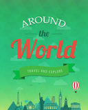 Travel composition with famous world landmarks and vintage badge. Travel and Tourism. Abstract background. Vector Royalty Free Stock Photo