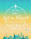 Travel composition with famous world landmarks and vintage badge. Travel and Tourism. Abstract background. Vector Royalty Free Stock Image