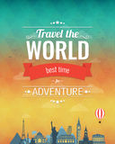 Travel composition with famous world landmarks and vintage badge. Travel and Tourism. Abstract background. Vector Stock Photo