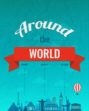 Travel composition with famous world landmarks and vintage badge. Travel and Tourism. Skyline abstract background. Vector Royalty Free Stock Images
