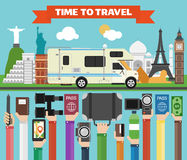 Travel composition with famous world modern flat design with camper,trailer. Vector illustration vector illustration