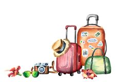 Travel composition with suitcase, bag, camera, sungluses, flowers and straw hat. Isolated on white background. Watercolor hand dra stock illustration