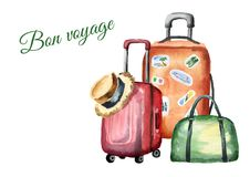 Travel composition with suitcase, bag and straw hat. Isolated on white background. Watercolor hand drawn background Royalty Free Stock Image