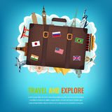 Travel composition with suitcase and famous world landmarks. Travel and Tourism background. Vector Stock Images