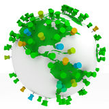 Travel concept. Globe world map and Push Pins isolated in white Stock Photography