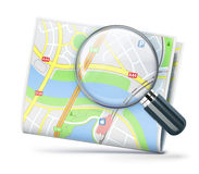 Travel concept. Vector illustration of travel concept with city street map and magnifying glass over it Royalty Free Stock Image
