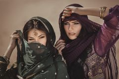 Arabian woman traveling in desert. stock photos