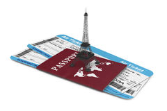 Travel Concept. Airline boarding pass tickets with Eiffel Tower. And Passport on a white background Stock Photography
