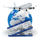 Travel concept. Airplane, earth and tickets. Royalty Free Stock Image