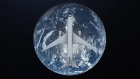 Travel concept of airplane flying around earth. View from space.  stock illustration