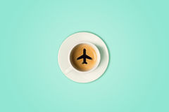 The travel concept. The airport coffee cup. Top view. The airport coffee cup. fresh espresso on table, view from above. The travel concept Stock Photo