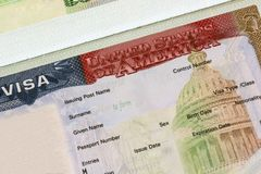 American visa in passport closeup. stock photo
