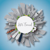 Travel Concept Around the World. Famous International Landmarks. Stock Photos