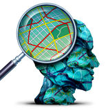 Travel Concept. As a magnifying lense looking at a map from a group of crumpled maps as a human journey and navigation symbol with 3D illustration elements royalty free illustration