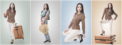 Travel concept with Asian beauty Royalty Free Stock Image
