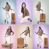 Travel concept with Asian beauty Royalty Free Stock Images