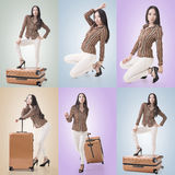 Travel concept with Asian beauty Royalty Free Stock Photography