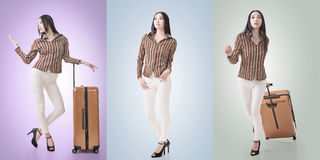Travel concept with Asian beauty Royalty Free Stock Photos