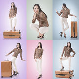 Travel concept with Asian beauty Stock Images