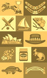 Travel Concept Australia Landmark Flat Icons Stock Photos