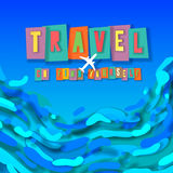 Travel concept background, go find yourself. Travel concept background - go find yourself, words cut out by scissors from colorful paper, collage paper craft Royalty Free Stock Photo