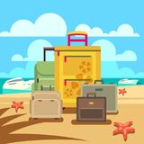 Travel concept background with passenger luggage and beach Stock Image