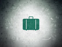 Travel concept: Bag on Digital Paper background Royalty Free Stock Images