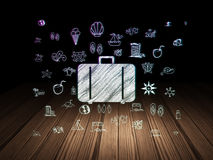 Travel concept: Bag in grunge dark room Royalty Free Stock Image