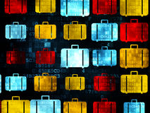 Travel concept: Bag icons on Digital background Stock Photo