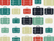 Travel concept: Bag icons on wall background Royalty Free Stock Image