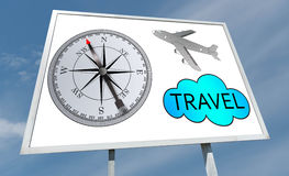 Travel concept on a billboard. Travel concept drawn on a billboard stock illustration