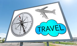 Travel concept on a billboard Stock Photography