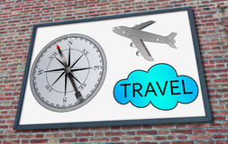 Travel concept on a billboard Royalty Free Stock Image