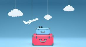 Travel concept on blue background 3D rendering. 3d illustration Royalty Free Stock Photos