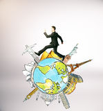 Travel concept. Businessman running on abstract globe with sights on light background. Travel concept Royalty Free Stock Image
