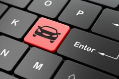Travel concept: Car on computer keyboard background Royalty Free Stock Images