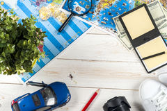 Travel - concept. Car journey planning. Tourist essentials. Space for text Stock Photos