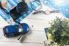 Travel - concept. Car journey planning. Tourist essentials. Space for text Royalty Free Stock Image