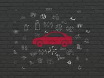 Travel concept: Car on wall background Stock Photos