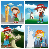 Travel concept cartoon characters Royalty Free Stock Photography
