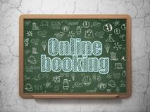 Travel concept: Online Booking on School board background. Travel concept: Chalk Blue text Online Booking on School board background with  Hand Drawn Vacation Stock Photo
