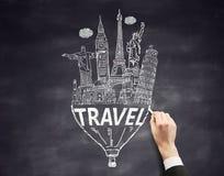 Travel concept on chalkboard Stock Photos