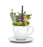Travel concept. Coffee Mug, tea. World-famous sights on a white background. Wallpaper. 3d illustration Stock Images