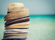Travel concept with colorful hats Stock Photos