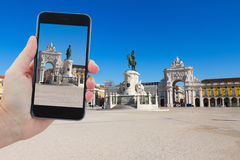 Travel concept with Commerce square  in Lisbon Stock Images