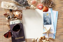 Travel concept. Composition of marine symbols Stock Photos