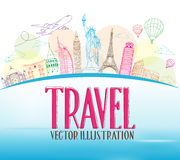 Travel Concept Design Background of Line Drawing Stock Images
