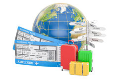 Travel concept, Earth globe with suitcases, tickets and signpost Stock Photography