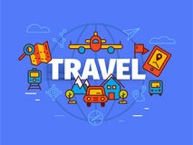 Travel concept in flat solid line design. Map markers and transp Royalty Free Stock Photography