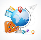 Travel Concept Globe. Vector Royalty Free Stock Photos